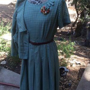 Vintage Volup 1950-60 Green Plaid Two Piece Dress